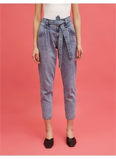 Koton %100 Pamuk Mom Jean - Normal Bel Dar Kesim Dar Paça Pantolon Mavi